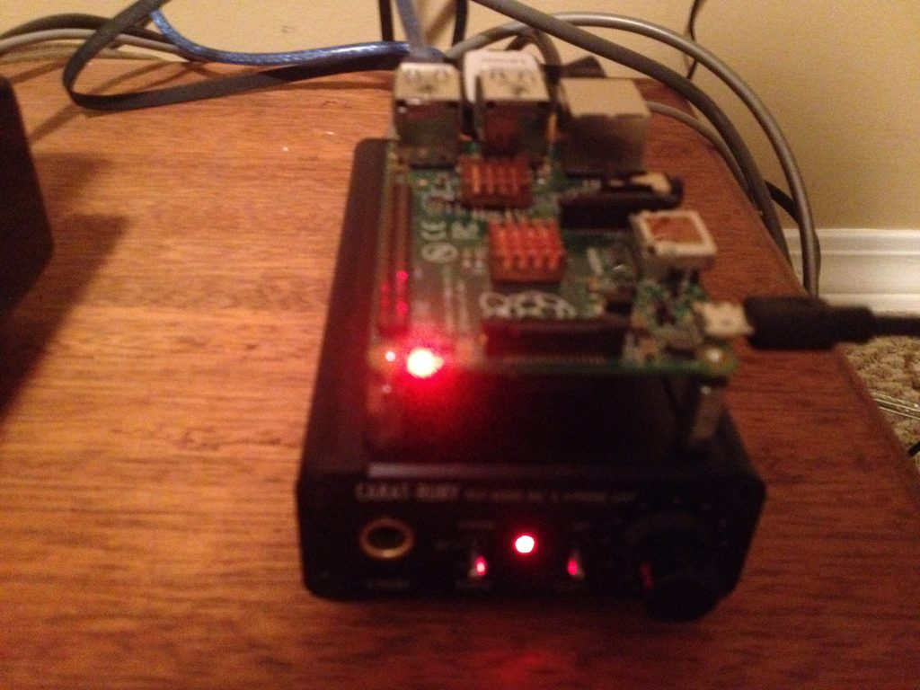 My Raspberry Pi running Volumio (HiFi) connected to a Ruby Carat II DAC from S.Korea